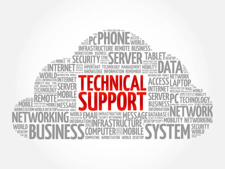Technical support word cloud concept Illustration