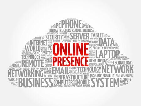 Online Presence word cloud concept Vetores