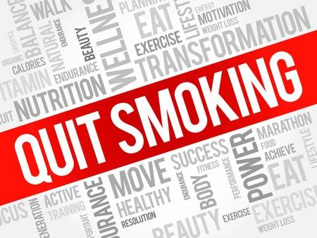quit: Quit Smoking word cloud, health concept