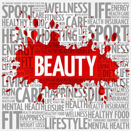 beuty of nature: BEAUTY word cloud, fitness, sport, health concept Illustration