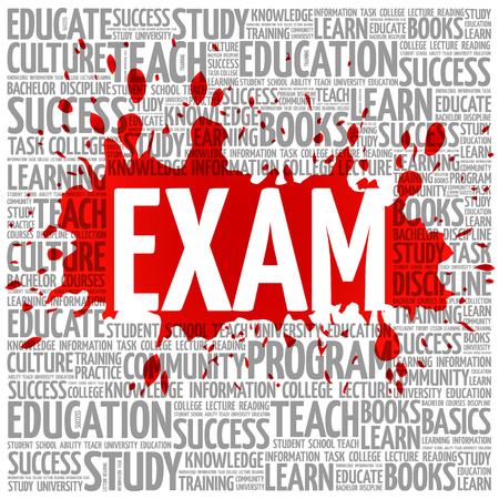 extramural: EXAM word cloud, education concept background Illustration