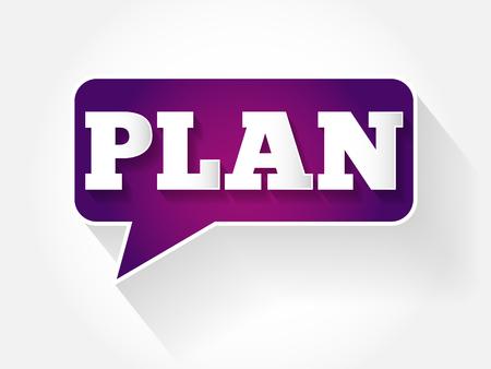 common goal: Plan text message bubble, flat background concept Illustration