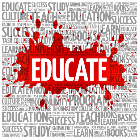 extramural: EDUCATE word cloud, education concept background