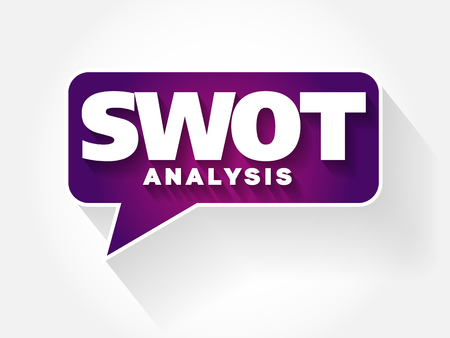 heirarchy: SWOT Analysis text message bubble, flat background concept