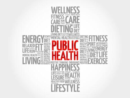 infirmity: Public Health word cloud, health cross concept background Illustration