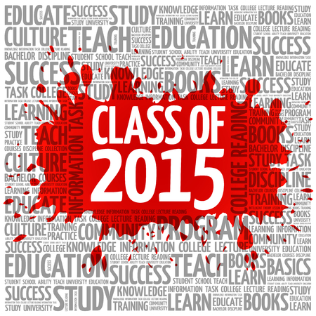 CLASS OF 2015 word cloud, education concept background Иллюстрация