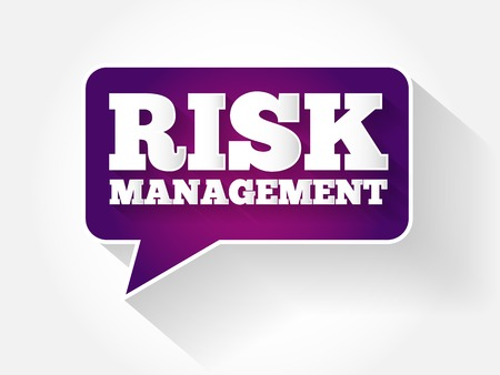 prioritization: Risk Management text message bubble, flat business concept background