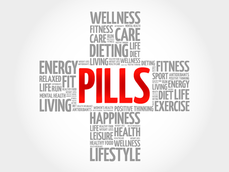 sleeping pills: PILLS word cloud, health cross concept background Illustration