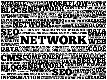 open source: Network word cloud, business concept