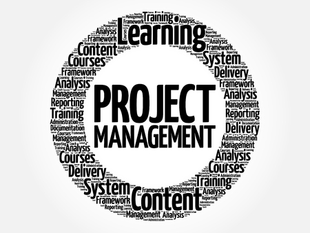 estimating: Project Management circle word cloud, business concept
