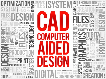 cad: CAD - Computer Aided Design word cloud, business concept background Illustration