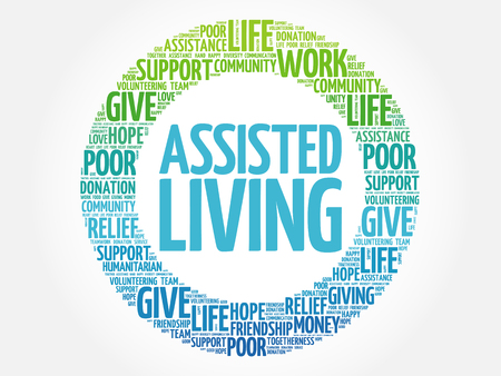 assisted: Assisted Living word cloud collage, concept background