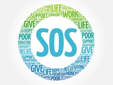 SOS nuvola parola collage, concetto di fondo