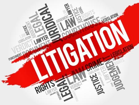 Litigation word cloud concept Illustration