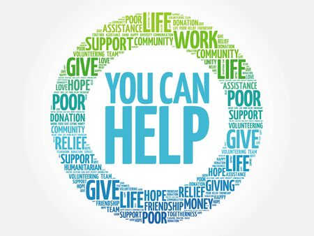 voluntary: You can help word cloud collage, concept background