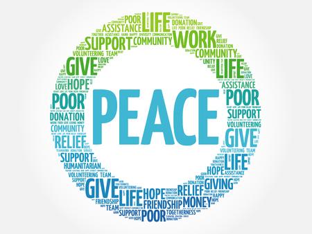peace concept: PEACE word cloud collage, concept background