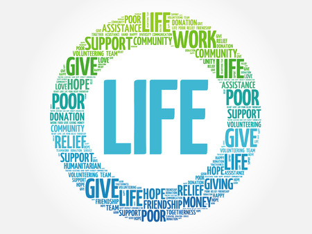 charity and relief work: LIFE word cloud collage, concept background