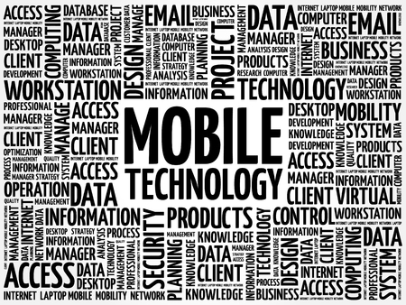 cloud technology: Mobile technology word cloud concept