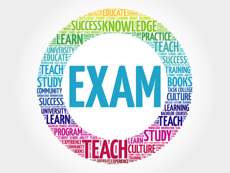 extramural: EXAM Word cloud education collage Illustration