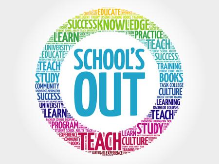 Schools Out word cloud, education concept