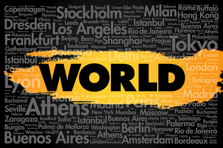 touristic: WORLD word cloud concept made with words cities names, business concept background