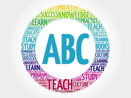 ABC word cloud, education concept