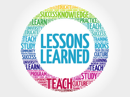 Leçons apprises nuage de mots, le concept de l'éducation Vecteurs
