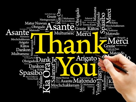 metadata: Thank You Word Cloud background, all languages, multilingual for education or thanksgiving day Stock Photo