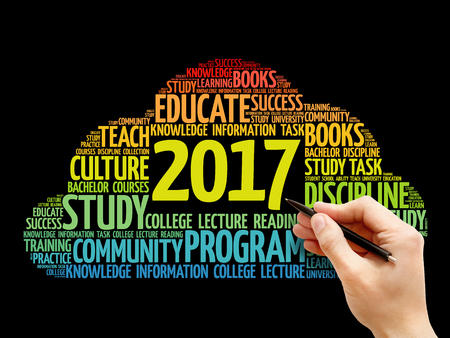 learning new skills: 2017 Education word cloud business collage, concept background Stock Photo