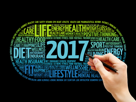 2017 health and sport goals word cloud, concept background