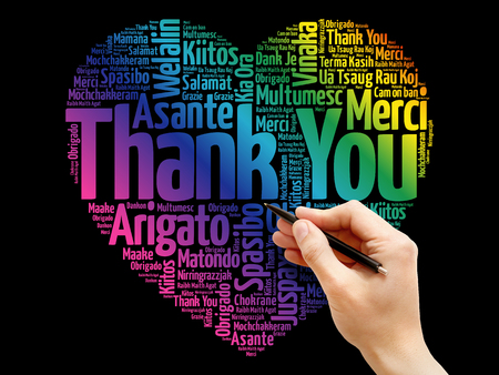 Thank You Love Heart Word Cloud in different languages, concept background Stock Photo