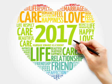 mind set: 2017 Love and Happy concept heart word cloud Stock Photo