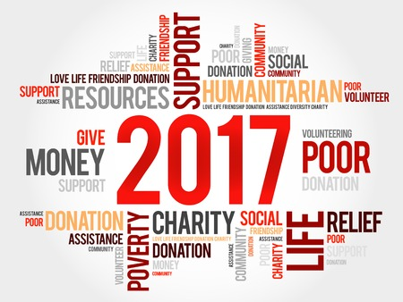 charity and relief work: 2017 help word cloud concept background Illustration