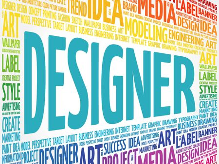 webdesigner: DESIGNER word cloud, creative business concept background Illustration