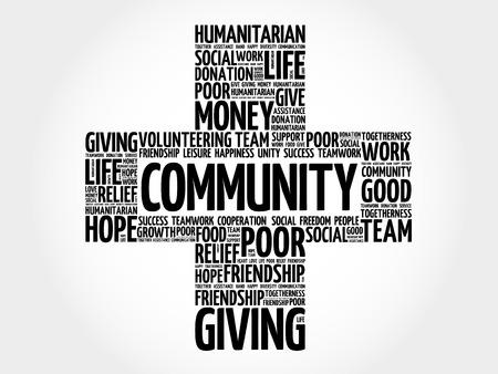 charity and relief work: Community word cloud collage, cross concept