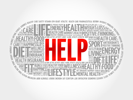 charity and relief work: HELP word cloud, fitness, sport, health concept