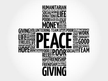 peace concept: Peace word cloud collage, cross concept Illustration