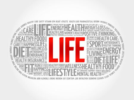LIFE word cloud, fitness, health concept