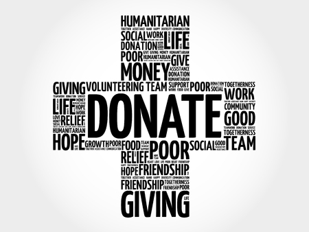 charity and relief work: Donate word cloud collage, cross concept