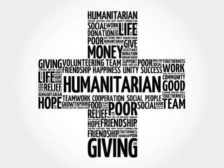 charity and relief work: Humanitarian word cloud collage, cross concept Illustration