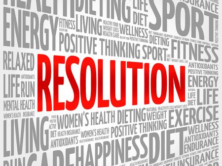 consonance: RESOLUTION word cloud, fitness, sport, health concept Illustration