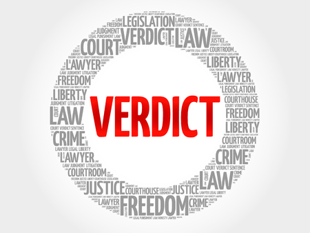 proceedings: Verdict word cloud concept Illustration