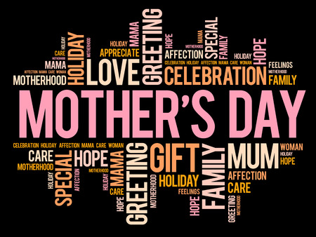 Mothers Day word cloud, care, love, family, motherhood concep