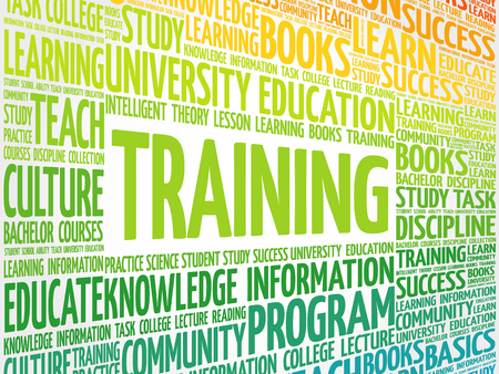 TRAINING word cloud collage, education concept background Illustration