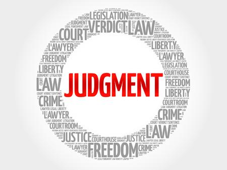 Judgement word cloud concept Illustration