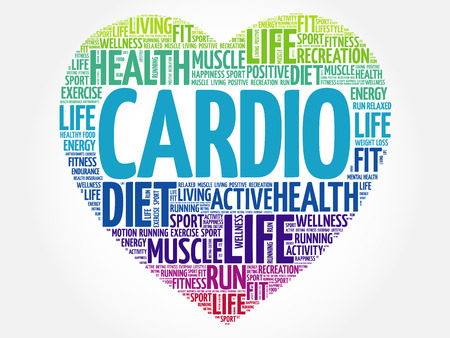 stability: CARDIO heart word cloud, fitness, sport, health concept