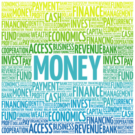bankroll: MONEY word cloud, business concept