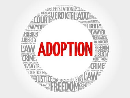 consent: Adoption word cloud concept Illustration