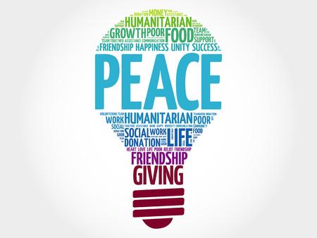 peace concept: PEACE bulb word cloud collage concept