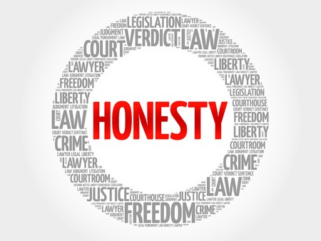 honorable: Honesty word cloud concept Illustration